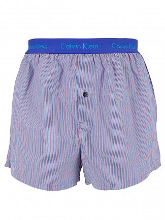 Calvin Klein Prissian Blue/Red Slim Fit Striped Woven Trunks