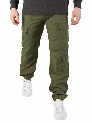 Carhartt WIP Rover Green Rinsed Aviation Slim Fit Cargos