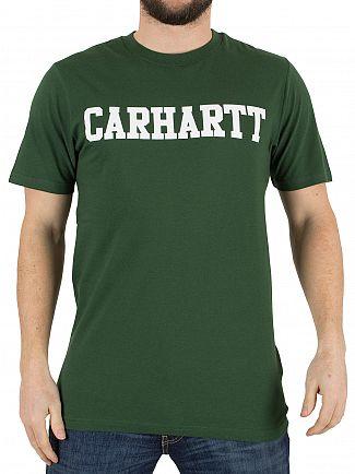 Carhartt WIP Fir Green/White College Logo T-Shirt