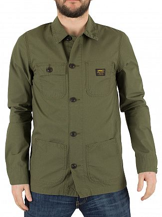 Carhartt WIP Rover Green Rinsed Michigan Chore Logo Button Jacket