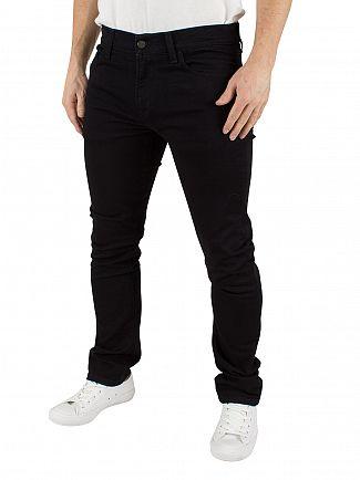 Carhartt WIP Black Rinsed Rebel Logo Towner Sim Tapered Fit Jeans