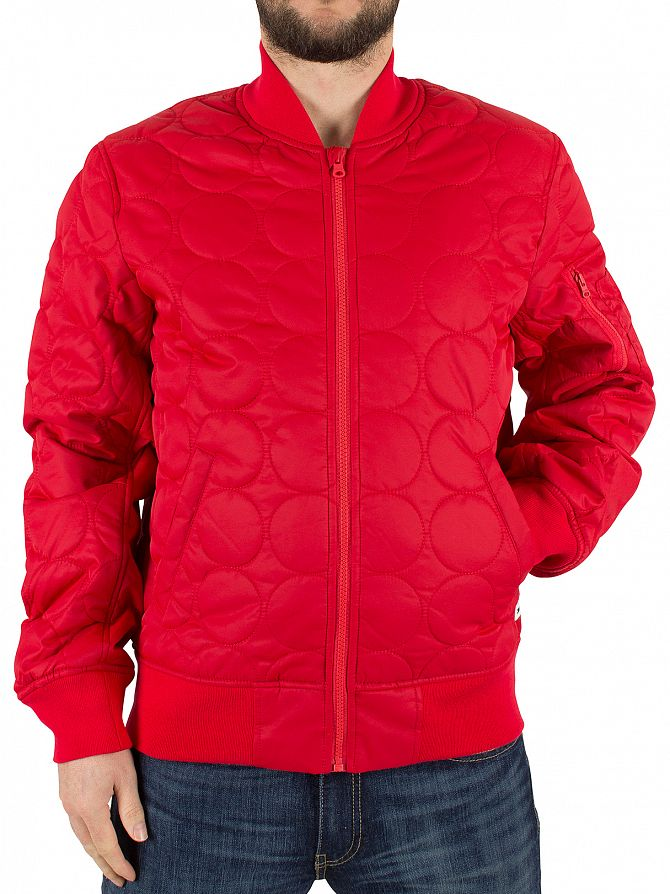 Converse Casino Red Quilted Shield Logo Bomber Jacket