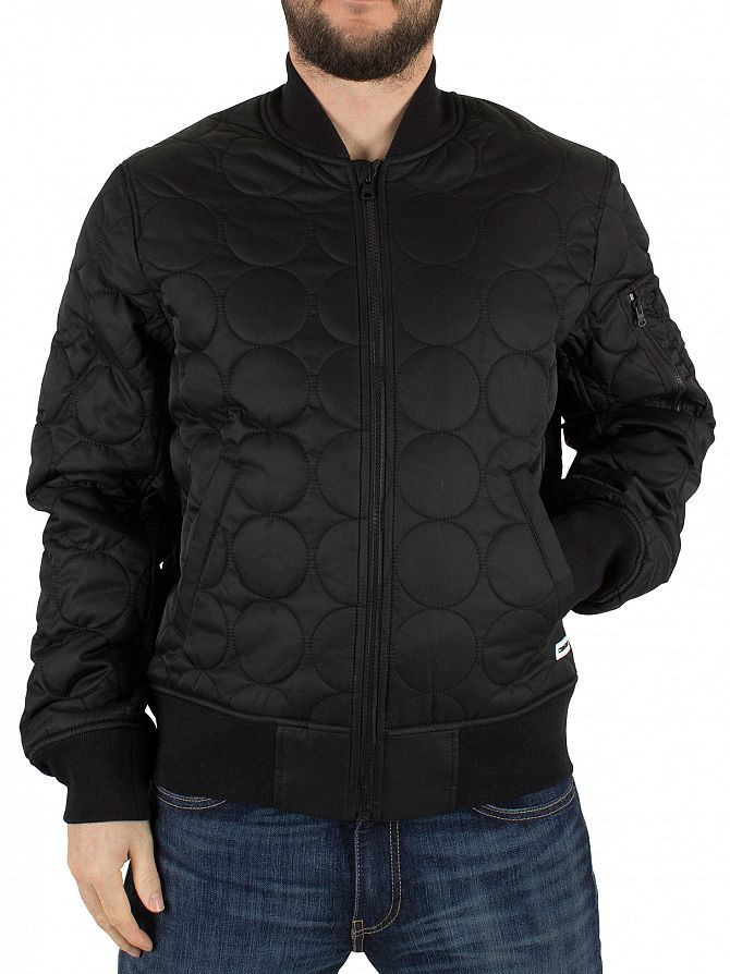 Converse Casino Black Quilted Shield Logo Bomber Jacket