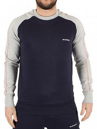 Diesel Navy/Light Grey Marl Casey Raglan Logo Sweatshirt