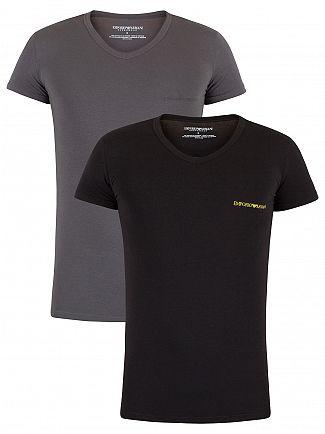 Emporio Armani Black/Steel Grey 2 Pack Chest Logo V-Neck T-Shirts