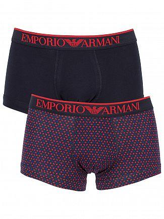 Emporio Armani Marine/Red 2 Pack Diamond Print Trunks