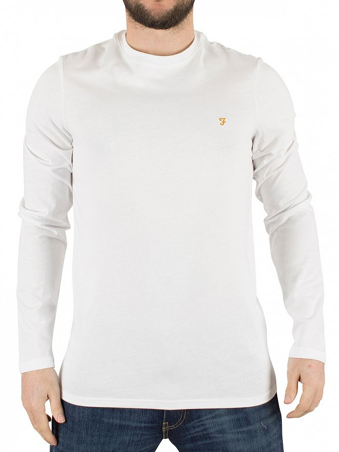 Farah Vintage White Longsleeved Denny Slim Solid Logo T-Shirt