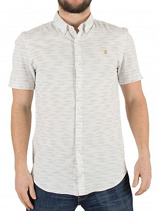 Farah Vintage Ecru Slim Fit Shortsleeved Thorpley Pattern Logo Shirt