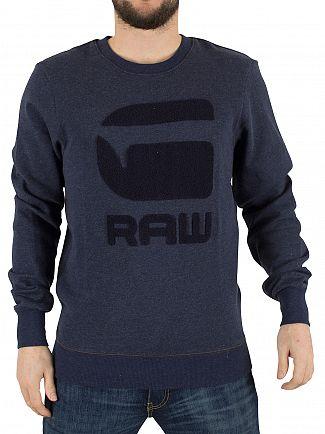 G-Star Dark Police Blue Heather Yster R Texture Graphic Sweatshirt