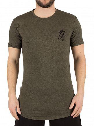 Gym King Burnt Olive Salt & Pepper Longline Curved Hem Logo T-Shirt