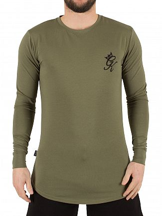 Gym King Burnt Olive Longsleeved Curved Hem Logo T-Shirt