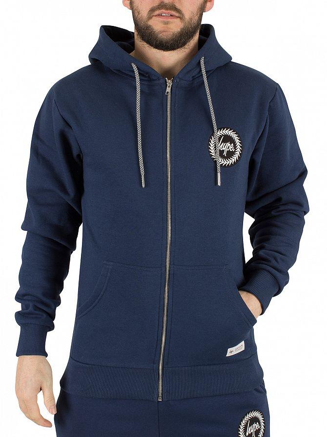 Hype Navy Crest Logo Zip Hoodie
