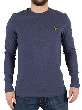 Lyle & Scott Navy Marl Longsleeved Logo T-Shirt