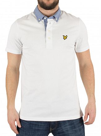 Lyle & Scott White Woven Collar Logo Polo Shirt