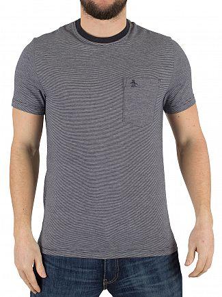 Original Penguin Dark Sapphire Feeder Striped Logo Pocket T-Shirt