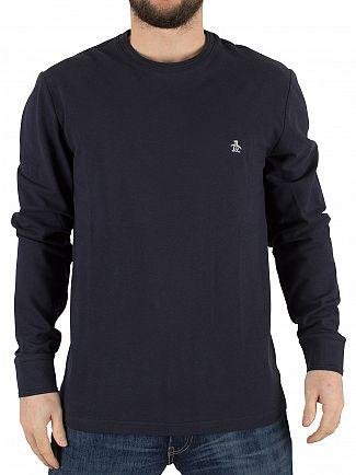 Original Penguin Dark Sapphire Longsleeved Raised Rib Logo T-Shirt