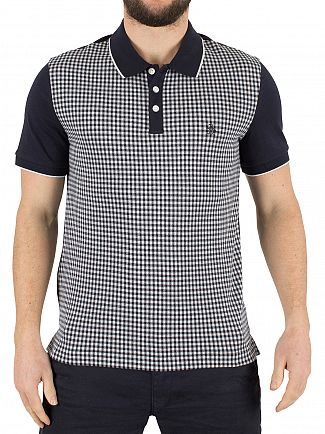 ORIGINAL PENGUIN DARK SAPPHIRE SLIM FIT GINGHAM JACQUARD LOGO POLO SHIRT