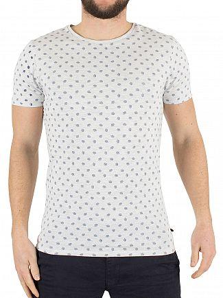 Scotch & Soda Light Grey Marl All Over Leaf Pattern Classic T-Shirt