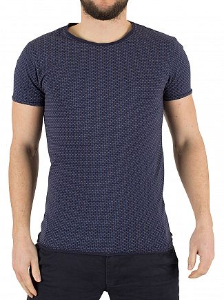 Scotch & Soda Night Blue All Over Pattern Classic T-Shirt