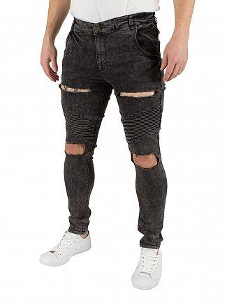 Sik Silk Black Acid Wash Extreme Biker Ripped Skinny Jeans
