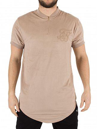 Sik Silk Stone Suede Zip Curved Hem Logo T-Shirt