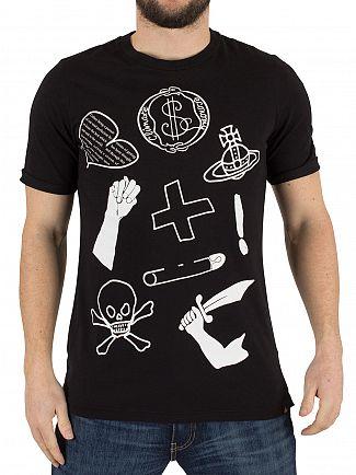 Vivienne Westwood Black Classic Logo Mix T-Shirt