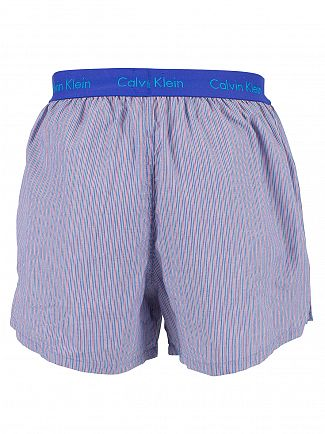Calvin Klein Prissian Blue/Red Slim Fit Striped Woven Trunks