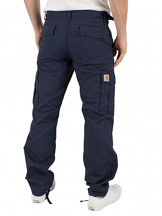 Carhartt WIP Navy Rinsed Aviation Slim Fit Cargos