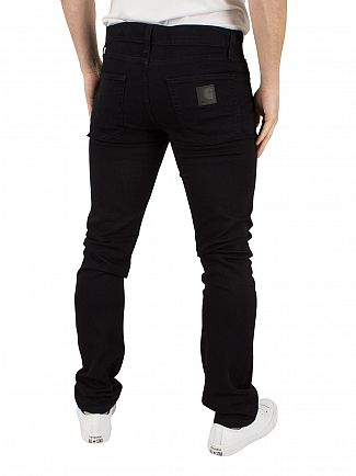 Carhartt WIP Black Rinsed Rebel Logo Towner Sim Tapered Fit Jeans