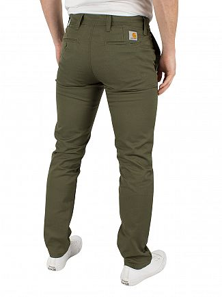 Carhartt WIP Rover Green Rinsed Slim Tapered Fit Sid Lamar Logo Chinos