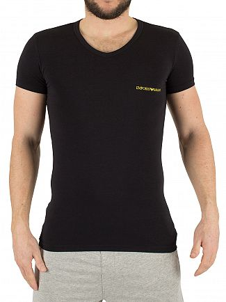 Emporio Armani Black/Steel Grey 2 Pack Chest Logo V-Neck T-Shirts