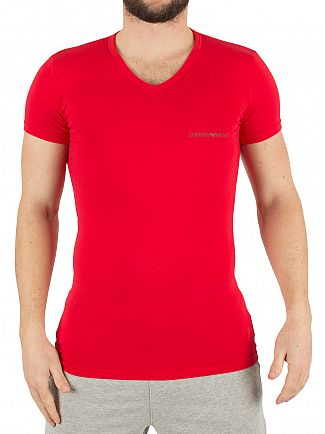 Emporio Armani White/Red 2 Pack Chest Logo V-Neck T-Shirts