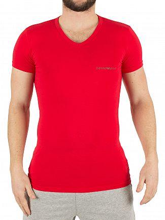 Emporio Armani White/Red 2 Pack Chest Logo V-Neck T-Shirts