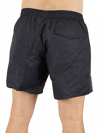 Emporio Armani Dark Blue EA7 Vertical Strip Logo Swim Shorts