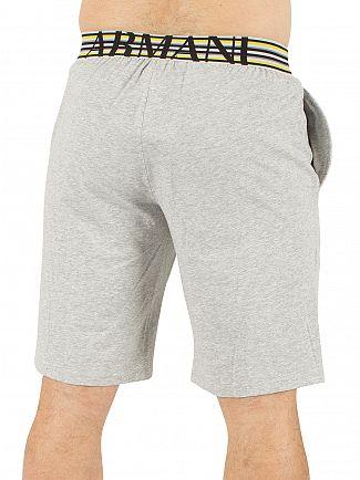 Emporio Armani Melange Grey Logo Waistband Pyjama Shorts
