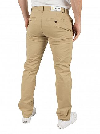 Farah Vintage Light Sand Elm Logo Twill Chinos