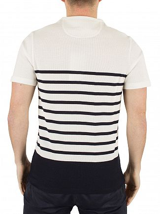 Farah Vintage True Navy Hampstead Honeycomb Striped Logo T-Shirt