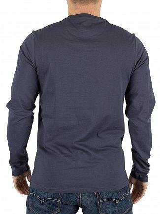 Farah Vintage Navy Longsleeved Denny Slim Solid Logo T-Shirt