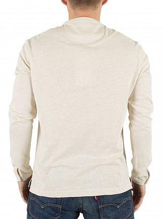 Farah Vintage Chalk Marl Longsleeved Weddell Linen Henley T-Shirt