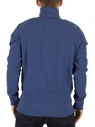 Gant Ocean Blue Melange Honeycomb Half Zip Logo Knit