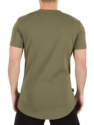 Gym King Burnt Olive Longline Curved Hem Logo T-Shirt