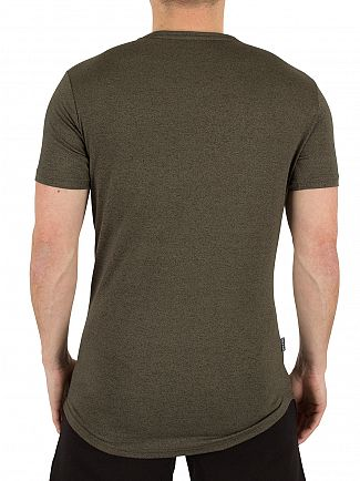 Gym King Burnt Olive Salt & Pepper Longline Curved Hem Logo T-Shirt