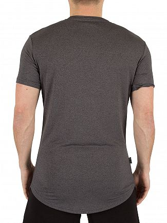 Gym King Black Salt & Pepper Longline Curved Hem Logo T-Shirt