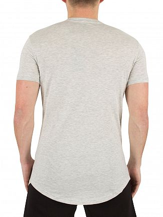 Gym King Grey Marl Longline Curved Hem Logo T-Shirt