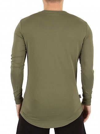 Gym King Burnt Olive Longsleeved Curved Hem Logo T-Shirt
