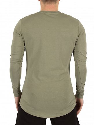 Gym King Vetiver Longsleeved Curved Hem Logo T-Shirt