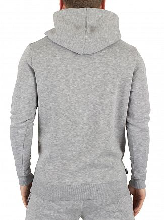 Gym King Grey Marl Pull Over Logo Hoodie