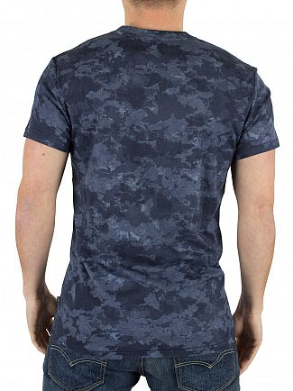 J Lindeberg Navy SEV C Wave Sublimation T-Shirt