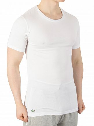 Lacoste White/Black/Grey 3 Pack Slim Fit Logo T-Shirts