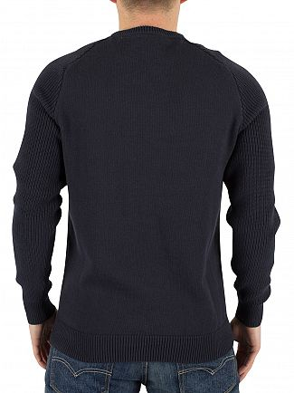 Lyle & Scott Navy Ribbed Sleeved Logo Knit